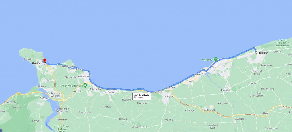 Cycling Route from Prestatyn to Llandudno. North Wales